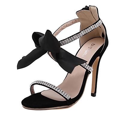 Dames Sandalen Polyester Zomer Causaal Strik Stilettohak Zwart 10 - 12 cm