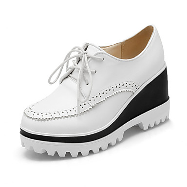 Mulheres Sapatos Courino Primavera Outono Salto Plataforma para Atlético Casual Ao ar livre Branco Preto Bege