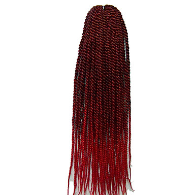 צמות טוויסט סנגל Kanekalon 1b / סגול burgundy 1b / # 27 # 27 / # 613 1b / # 30 תוספות שיער 22
