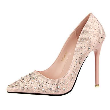 Kadın's Ayakkabı Yapay Deri Bahar / Yaz Rahat Stiletto Topuk Elbise / Ofis ve Kariyer için Işıltılı Pullar Mavi / Pembe / Altın