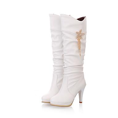 رخيصةأون أحذية النساء-نسائي كتب أمام الحذاء على شكل دائري مشبك جلد البوط القصير / بوط الكاحل / جزمات طول الركبة جزمات موضة الخريف / الشتاء أبيض / أسود / اللوز / EU41