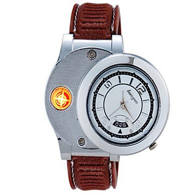Herre Unisex Moteklokke Unike kreative Watch Armbåndsur lighter Quartz Gummi Band Vintage Kreativ Brun