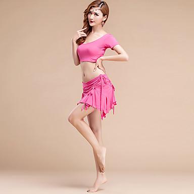 Magedans Drakter Dame Trening Modal Skerfer / Bånd 3 deler Kort Erme Naturlig الالتفاف / Top / ShortsTop:M:32cm/L:33cm Skirt:M/46cm,