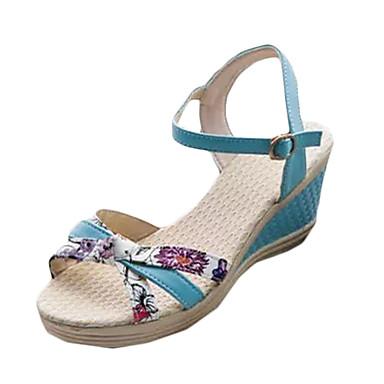 Mulheres Sapatos Couro Ecológico Verão Sandálias Salto Plataforma Presilha para Casual Branco Azul Rosa claro
