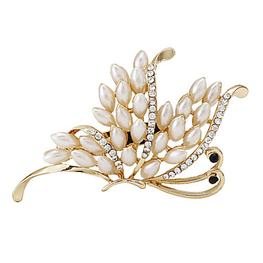 femmes de la mode plaqué or perle Broche papillon pour les femmes mariage