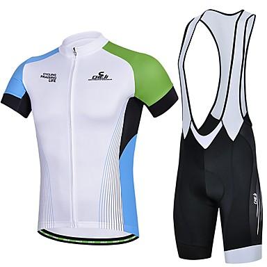 Sport Fahrradtrikot mit Trägerhosen Damen / Herrn / Unisex Kurze Ärmel FahhradAtmungsaktiv / Rasche Trocknung / tragbar / Tasche auf der