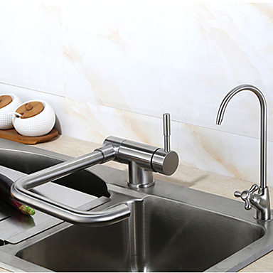 Moderne standard Tut Bolleservant Utbredt Roterbar Keramisk Ventil Enkelt Håndtak Et Hull Krom , Kjøkken Kran