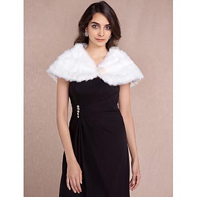 Faux Fur Wedding Party Evening Fur Wraps Wedding  Wraps With Beading Shrugs