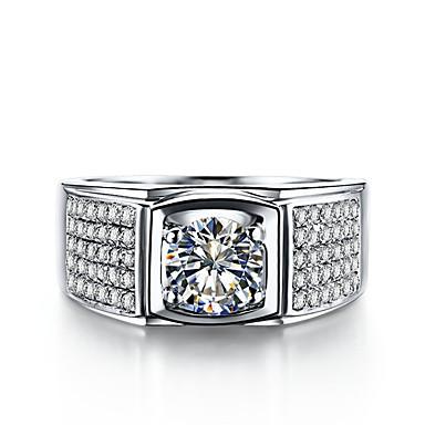 Homens Anéis Grossos Luxo Fashion Prata de Lei Strass Jóias Casamento