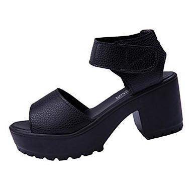 Damen-Sandalen-Lässig-PU-Blockabsatz-Vorne offener Schuh-Schwarz / Weiß