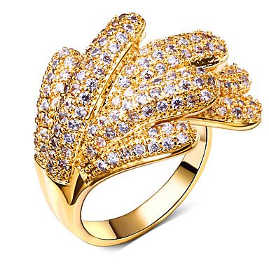 Anneaux Mode Zircon Cuivre Platiné Plaqué or Forme de Fleur Or Blanc Bijoux Pour Mariage Soirée Quotidien Décontracté 1pc