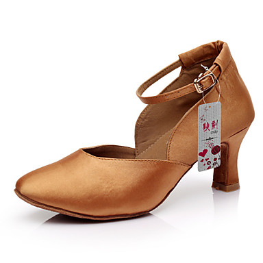 Sapatos de Dança (Preto / Castanho) - Mulheres - Customizáveis - Latim / Salsa / Samba