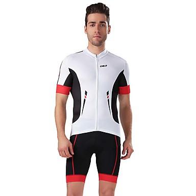 Camisa com Shorts para Ciclismo Homens Manga Curta Moto Respirável Redutor de Suor Camisa + Shorts Blusas Calças ElastanoPrimavera Verão