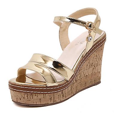 kvinners sko pu sommer kiler / åpen tå sandaler kjole / uformell kilehæl paljett sølv / gull