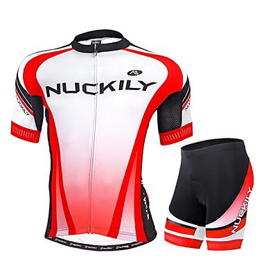 Nuckily Herrn Kurzarm Fahrradtriktot mit Fahrradhosen - Rot Geometrisch Fahhrad Shorts/Laufshorts Trikot/Radtrikot Kleidungs-Sets,