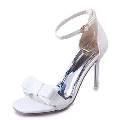 Femme Chaussures Similicuir Eté Sandales Talon Aiguille Noeud Creuse pour Décontracté Soirée & Evénement Blanc Noir Gris Rose