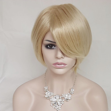 Synthetic Wig Straight Golden Asymmetrical Haircut / With Bangs Synthetic Hair Natural Hairline Golden / Blonde Wig Women's Short Capless