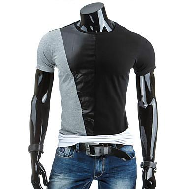 Menn Fritid / Sport Lapper T-skjorte,Bomull Kortermet-Svart / Hvit