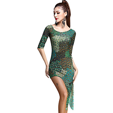 Robes(Vert,Rayonne / Tulle,Danse latine)Danse latine- pourFemme Motif/Impression Entraînement Danse latine Taille moyenne