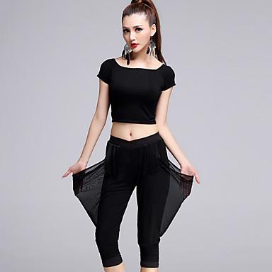 ריקוד לטיני תלבושות בגדי ריקוד נשים ביצועים טול מודאלי מילק פייבר 2 חלקים שרוול קצר טבעי עליון מכנסיים