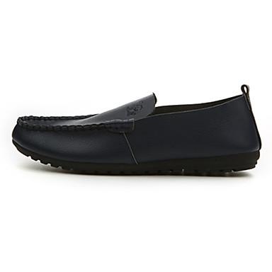 Miesten kengät Nahka Kevät Syksy Comfort Mokkasiinit Kävely varten Kausaliteetti ulko- Valkoinen Musta Oranssi Sininen
