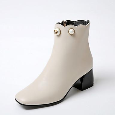 Støvler-Kunstlæder-Modestøvler-Dame-Sort Mandel-Kontor Formelt Fritid-Tyk hæl