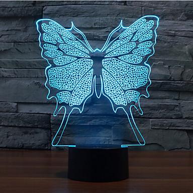 sommerfugl touch dimming 3d ledet nat lys 7colorful dekoration atmosfære lampe nyhed belysning lys