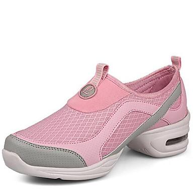 Dame Moderne dansesko Syntetisk Sneaker udendørs Lave hæle Kan ikke tilpasses Dansesko Grå / Lys pink