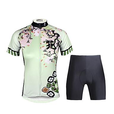 ILPALADINO Damen Kurzarm Fahrradtriktot mit Fahrradhosen - Schwarz Fahhrad Kleidungs-Sets, 3D Pad, Rasche Trocknung, UV-resistant, Atmungsaktiv, Reflexstreiffen Lycra Blumen / Pflanzen / Dehnbar