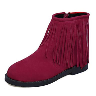 Støvler-Fleece-Komfort-Dame-Sort Rød-Udendørs Fritid-Flad hæl