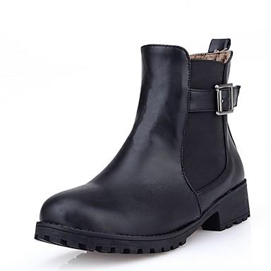 Feminino-Saltos-Botas de Cowboy Botas de Neve Botas Montaria Botas da Moda-Rasteiro-Preto Marrom Amarelo-Sintético Couro Envernizado