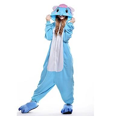 Kigurumi-Pyjamas Elefant Pyjamas-Einteiler Kostüm Polyester Blau Cosplay Für Erwachsene Tiernachtwäsche Karikatur Halloween Fest /