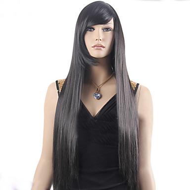 Naisten Synteettiset peruukit Koneella valmistettu Pitkä Suora Musta musta Wig puku Peruukit