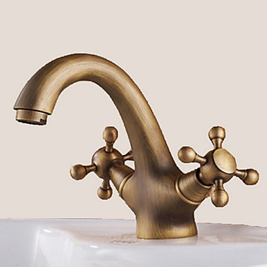 Bathroom Sink Faucet - Rotatable Antique Brass Centerset One Hole / Two Handles One Hole
