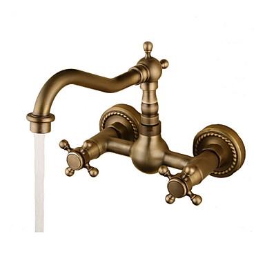 Baderom Sink Tappekran - Roterbar Antikk Bronse Vægmonteret To Huller To Håndtak to hull