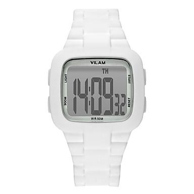Unisexo Relógio Esportivo Digital LCD Cronômetro Noctilucente Resistente ao Choque Plastic Banda Luxo Casual Preta Branco Azul Vermelho