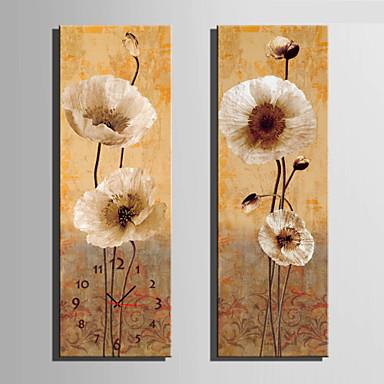 Moderne / Nutidig Blomst/Botanik Vægur,Rektangulær Lærred 24 x 70cm(9inchx28inch)x2pcs/ 30 x 90cm(12inchx35inch)x2pcs Indendørs Ur