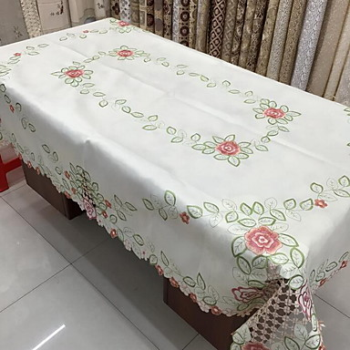 Polyester Rectangular Table Cloth Floral Patterned Eco Friendly