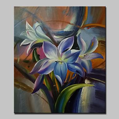 Handgeschilderde Bloemenmotief/Botanisch Verticaal,Modern Eén paneel Canvas Hang-geschilderd olieverfschilderij For Huisdecoratie