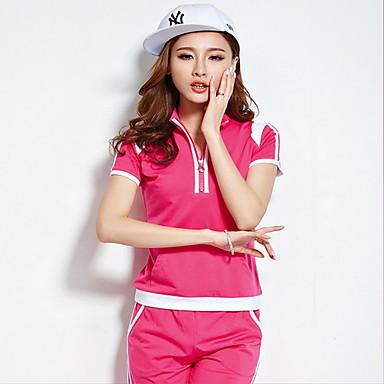 Dame T-shirt og bukser til løb og jogging Kortærmet Åndbart Tøjsæt for Træning & Fitness Fritidssport Badminton Cykling/Cykel Løb
