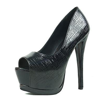 Dames Sandalen PU Zomer Causaal Stilettohak Zwart Zilver 12 cm en hoger