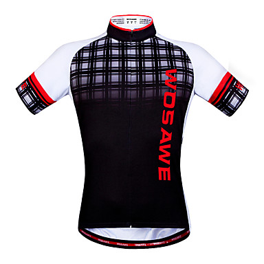WOSAWE Camisa para Ciclismo Unisexo Manga Curta Moto Blusas Secagem Rápida Tiras Refletoras Bolso Traseiro Antibacteriano Redutor de Suor