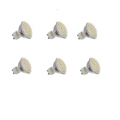 billige Elpærer-6 stk 4w 300lm gu10 led spotlight 60 leds smd 3528 varm hvit kald hvit 12v 220-240v