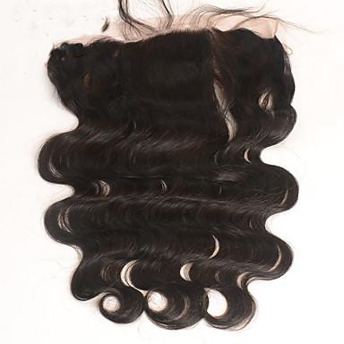 Peruviansk hår 100 % håndknyttet Krop Bølge Gratis Part Sveitsisk blonde Ekte hår