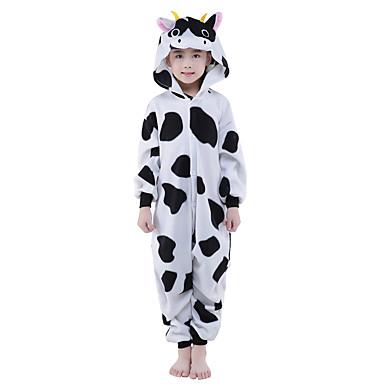 Kigurumi-Pyjamas Milchkuh Pyjamas-Einteiler Kostüm Polar-Fleece Schwarz Cosplay Für Kinder Tiernachtwäsche Karikatur Halloween Fest /