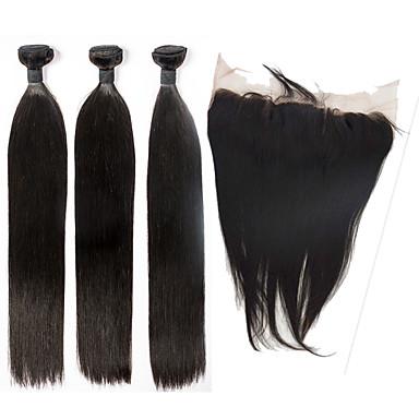 Hår Veft Med Lukker Indisk hår Rett 6 måneder 4 deler hår vever