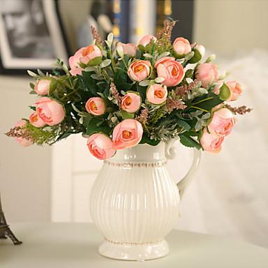1pc 1 Tak Polyester / Kunststof Rozen Bloemen voor op tafel Kunstbloemen 10.6inch/27CM
