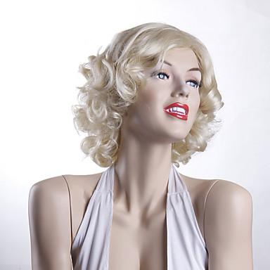 Mulher Perucas sintéticas Sem Touca Curto Ondulado Loira preto peruca Perucas para Fantasia