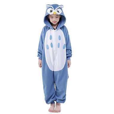 b8fe9934c4 Niños Pijamas Kigurumi Búho Animal Pijamas de una pieza Mink Velvet Azul  Cosplay por Niños y
