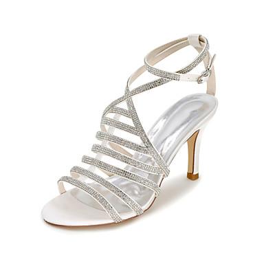Mulheres Sapatos Cetim Primavera / Verão / Outono Sandálias Salto Agulha Pedrarias Dourado / Champanhe / Ivory / Casamento